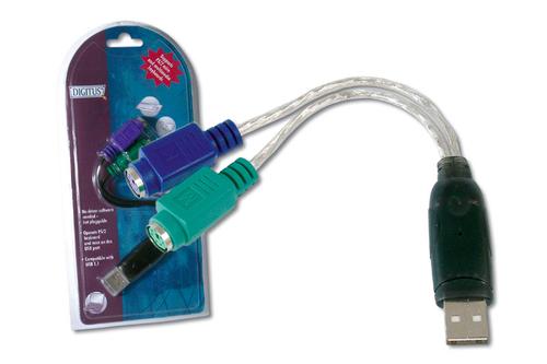 DIGITUS ADATTATORE USB TIPO A / PS2 PER MOUSE E TASTIERA DA70118