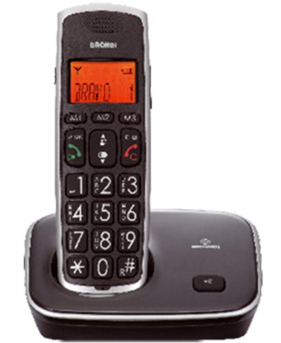 BRONDI TELEFONO CORDLESS BRAVO GOLD 2 GRANDI TASTI CON VIVAVOCE RUBRICA 20 MEMORIE TASTO BOOST VIVAVOCE BLACK