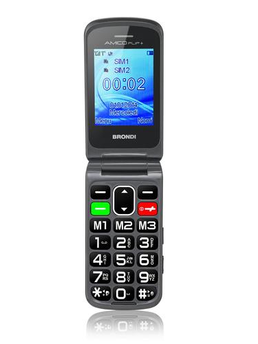 BRONDI CELLULARE AMICO FLIP+ GSM 2,2 GRANDI NUMERI DUAL SIM NERO