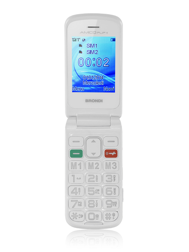 BRONDI CELLULARE AMICO FLIP+ GSM 2,2 GRANDI NUMERI DUAL SIM WHITE
