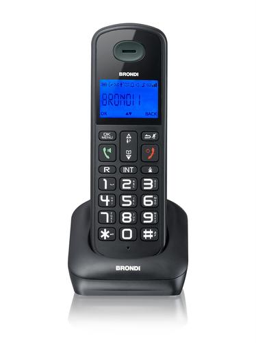 BRONDI TELEFONO CORDLESS BRAVO STYLE RUBRICA 50 NUMERI DECT GAP NERO DISPLAY A 3 RIGHE CON TASTI A RILIEVO DI GRANDI DIMENSIONI - POSSIBILITA DI CONNETTERE 5 APPARATI IN SERIE
