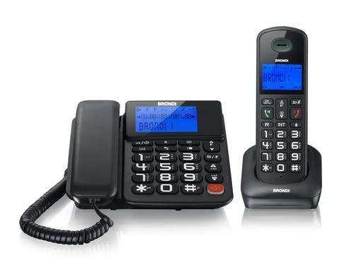 BRONDI TELEFONO + TELEFONO CORDLESS BRAVO STYLE TASTI GRANDI TRASFERIMENTO CHIAMATA