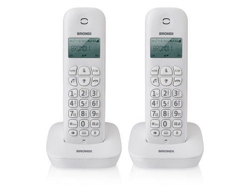 BRONDI TELEFONO CORDLESS GALA TWIN BIANCO RUBRICA ID CHIAMATE SVEGLIA 7H AUTONOMIA