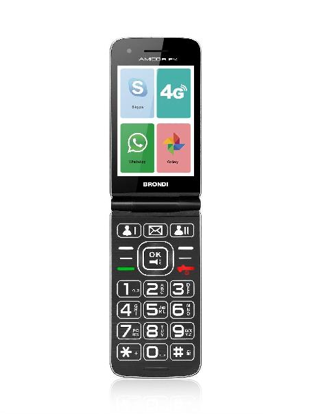 BRONDI AMICO FLIP 4G GSM DUAL SIM ANDORID 8.1 GRIGIO