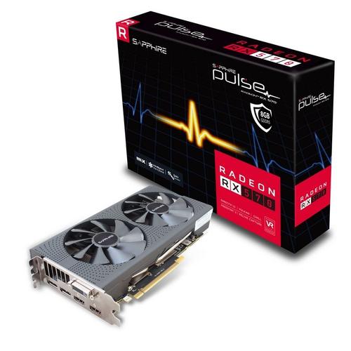SAPPHIRE VGA PULSE RADEON RX 570 8G GDDR5 DUAL HDMI / DVI-D / DUAL DP OC W/BP (UEFI)