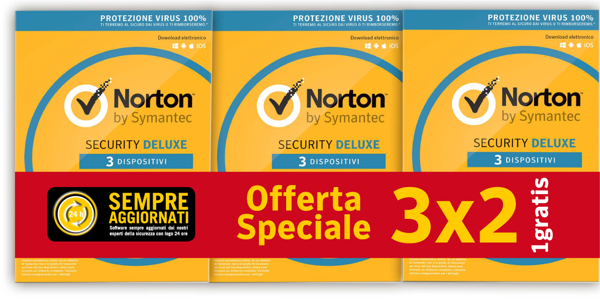 SYMANTEC BUNDLE 3X2 NORTON SECURITY DELUXE 2018 IT 1 USER 3 DEVICE