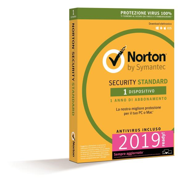 SYMANTEC NORTON SECURITY STANDARD 2018 IT 1 USER 1 DEVICE 12MO CARD MM