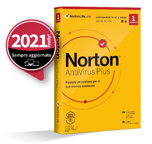 SYMANTEC NORTON ANTIVIRUS PLUS 2020 1 DISPOSITIVO 12 MESI 2GB