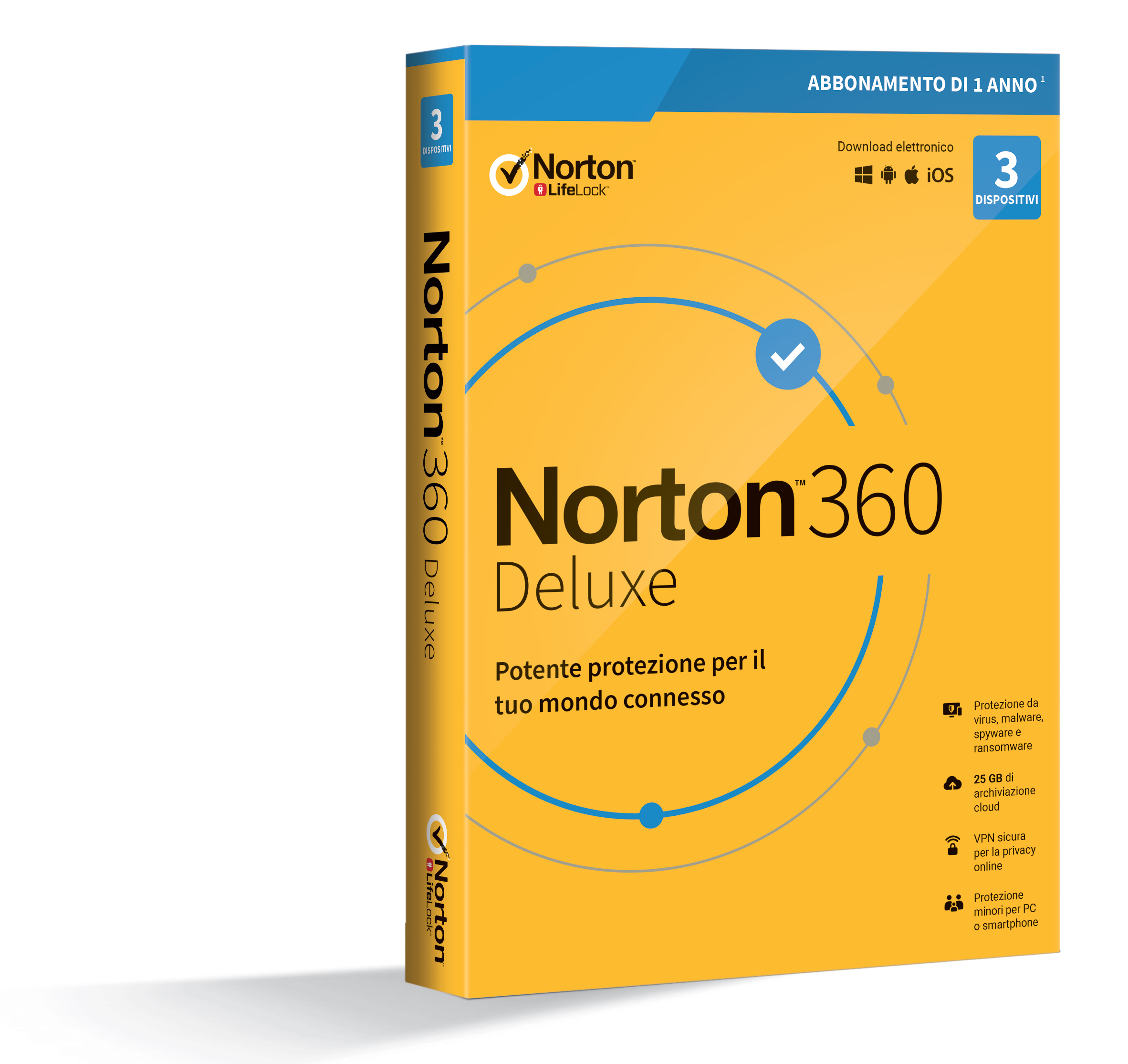 SYMANTEC NORTON 360 DELUXE 2020 3 DISPOSITIVI 12 MESI 25GB