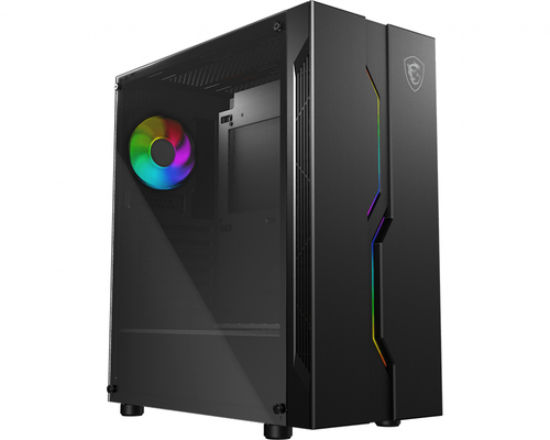 MSI CASE ATX MID-TOWER VAMPIRIC, 7 SLOT HDD, SIDE TEMPERED GLASS, 1X120MM RGB FAN FRONT, RGB LED FRONT, BLACK