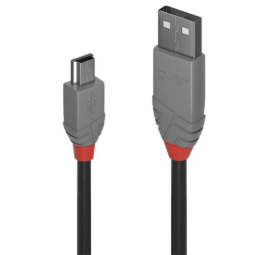 LINDY 0,5M USB 2.0 KABEL A/MINI-B, ANTHRA