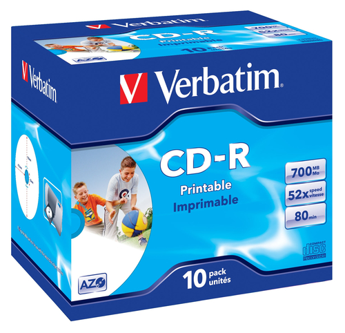 VERBATIM CD-R 52X, 700MB, 10 PACK JEWEL CASE, AZO, WIDE INKJET PRINTABLE, 23-118 MM