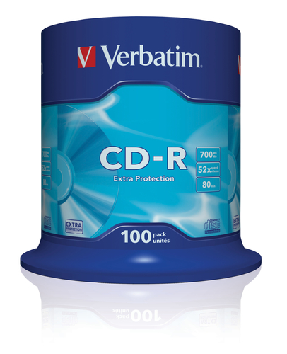 VERBATIM CD-R 52X, 700MB, 100 PACK SPINDLE, EXTRA PROTECTION