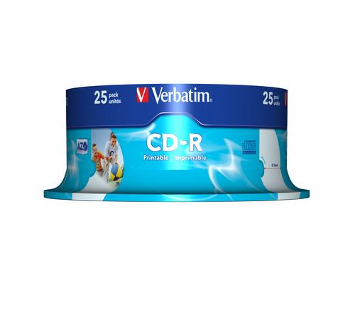 VERBATIM CD-R 52X 700MB 25PK OPS SPINDLE WIDE PRINT ID