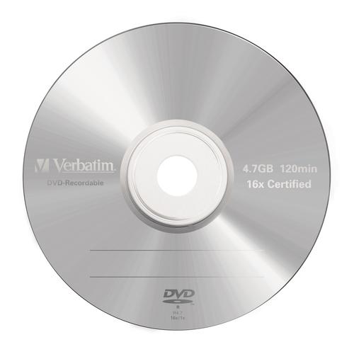 VERBATIM DVD-R 16X, 4,7GB, 5 PACK BRANDED JEWEL CASE, MATT SILVER