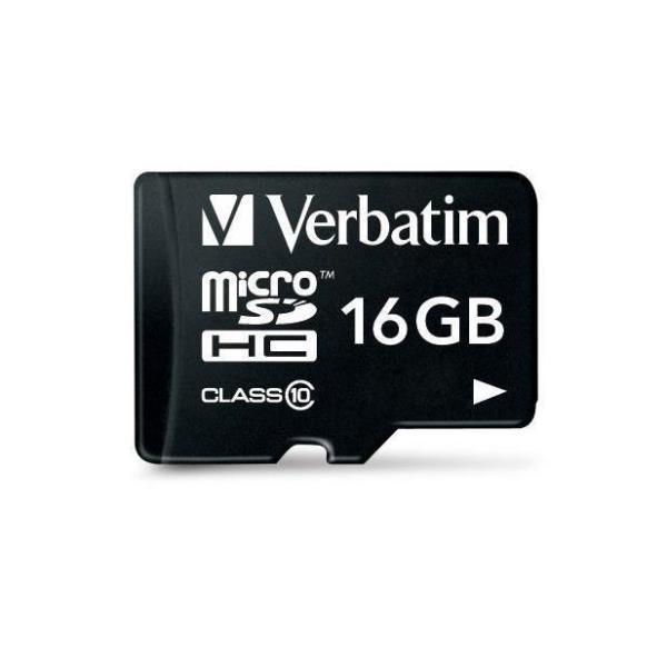 VERBATIM MICRO SDHC 16GB CLASSE 10 + ADATTATORE