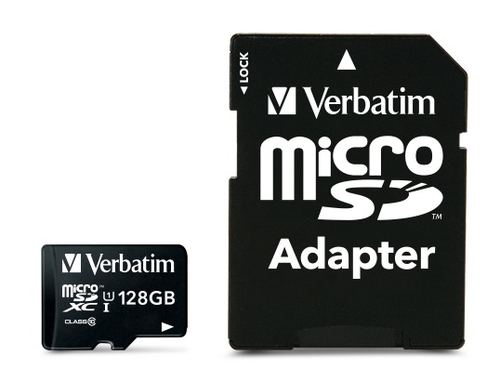 VERBATIM MICRO SDXC 128GB CLASSE 10 + ADATTATORE
