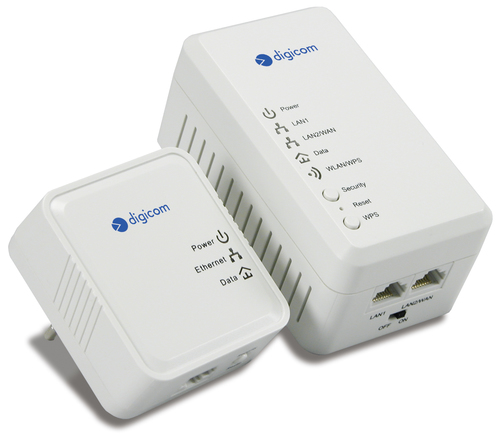 DIGICOM KIT ADATTATORE POWERLINE 500MBIT/S + ACCES POINT WLESS 802.11N 2T2R 300MBIT/S