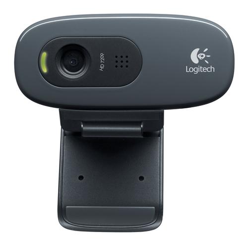 LOGITECH WEBCAM HD C270 USB 3MPX 1280X720  FLUID CRYSTAL MICROFONO INCORPORATO CLIP FISSAGGIO RILEVAMENTO AUTOMATIVO VOLTO E MOVIMENTO