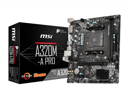 MSI MB AMD A320M-A PRO  MATX AM4 DVI/HDMI