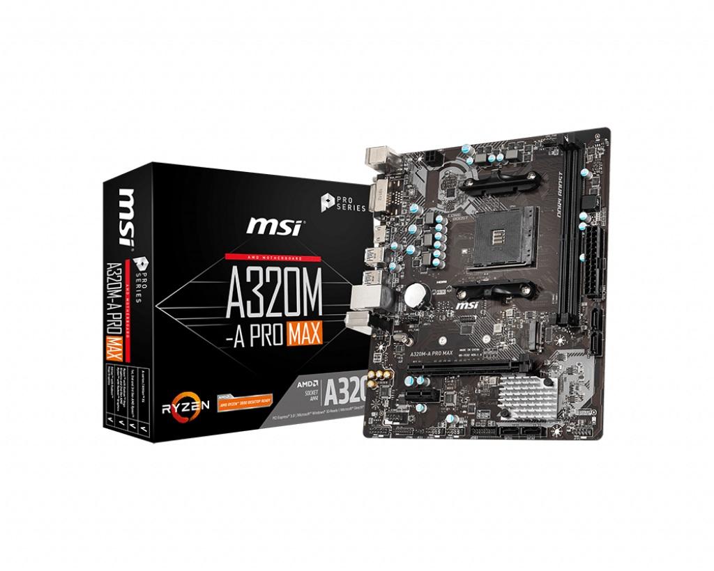 MSI MB AMD A320M-A PRO MAX MATX AM4 2DDR4 PCI-E X16 M2 SATA