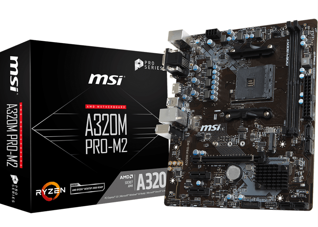 MSI MB AMD A320M PRO-M2 V2 MATX AM4 DVI/HDMI/VGA