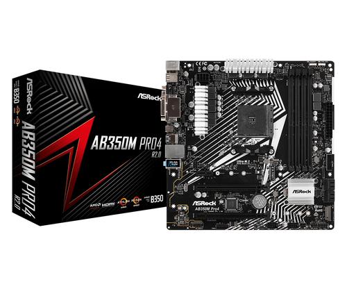 ASROCK MB AMD AB350M PRO4-F AM4, 4DDR4, 4SATA3  HDMI, DVI-D, D-SUB MATX