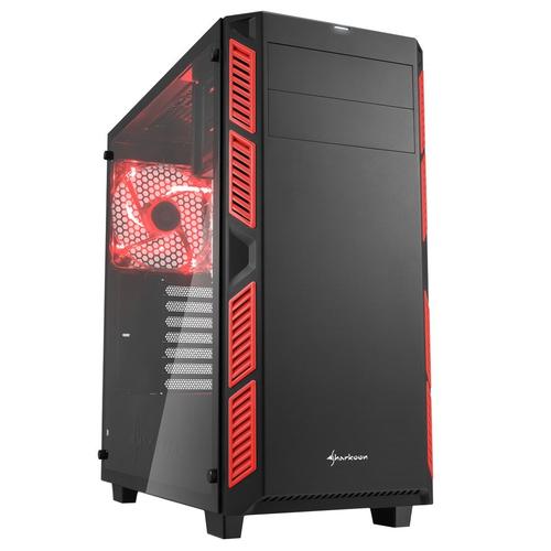 SHARKOON CASE AI7000 ATX 2XUSB2, 2XUSB3, 7 SLOTS, 2X140 FRONT, 1X140 LED REAR WINDOW VETRO TEMPERATO, RED