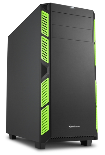 SHARKOON CASE AI7000 SILENT ATX 2XUSB2, 2XUSB3, 7 SLOTS, 2X140 FRONT, 1X140 REAR, GREEN
