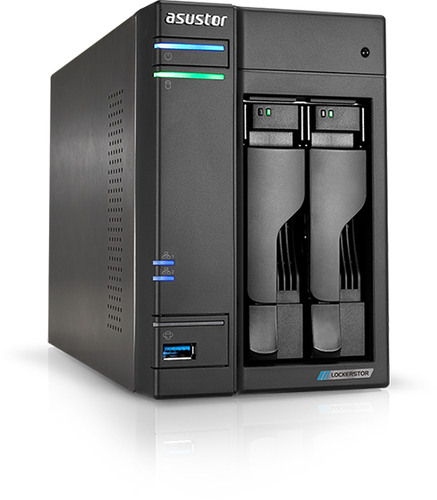 ASUSTOR NAS 2 BAY 2XSATA3 6Gb/s, 2.5/3.5 HDD/SSD, QUAD CORE 2GHZ, 2XM2 PCIE SLOTS, RAM 4GB DDR4 SODIMM, 2X2.5GBE LAN, 3XUSB 3.2 GEN-1, WOW (WAKE ON WAN), CRITTOGRAFIA HARDWARE, EZ CONNECT, EZ SYNC