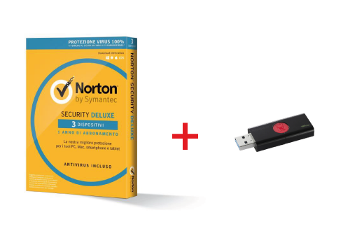 BUNDLE SYMANTEC NORTON SECURITY DELUXE 2018 IT 1USER 3DEVICE + KINGSTON PEN DISK 16GB USB 3.0