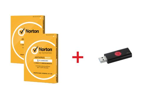 BUNDLE SYMANTEC NAV BASIC 2018 1 DISPOSITIVO (2 PZ) + KINGSTON PEN DISK 16GB USB 3.0 NERA