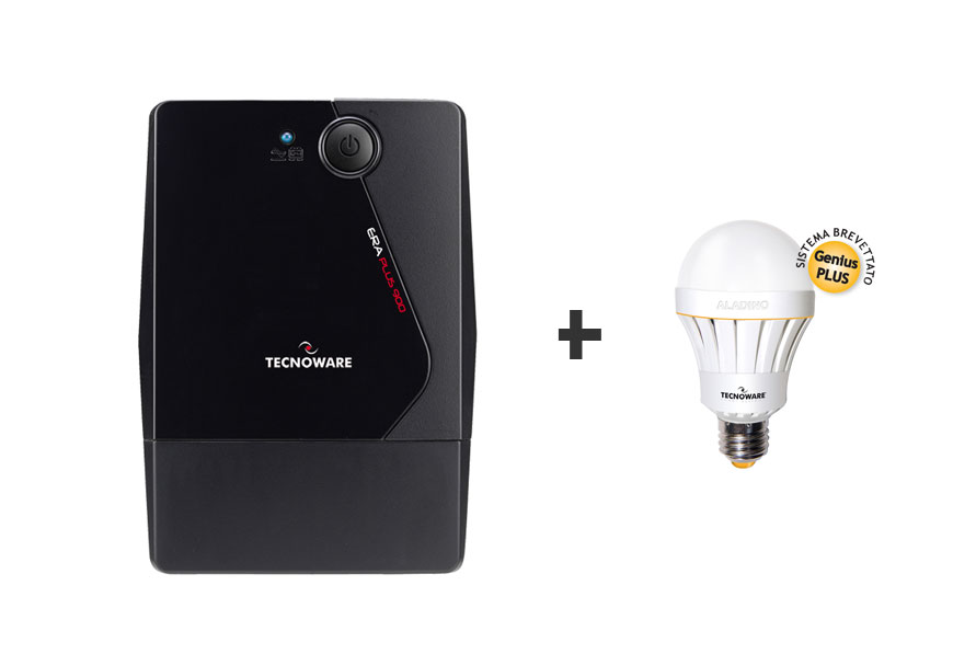 BUNDLE TECNOWARE UPS ERA PLUS DA 900VA + ALADINO LAMPADA LED