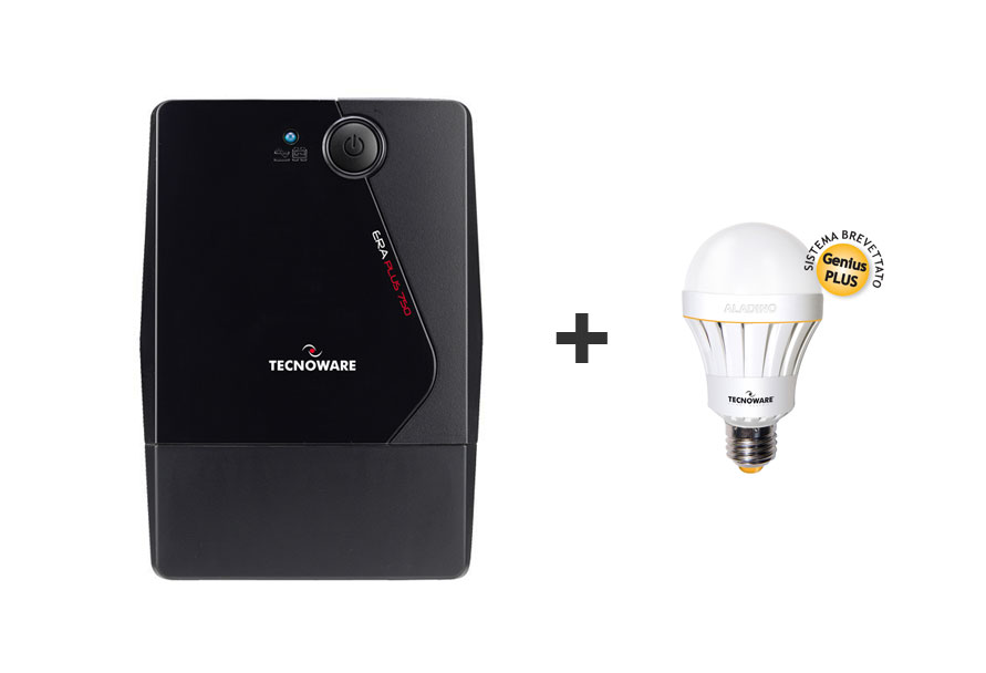 BUNDLE TECNOWARE UPS ERA PLUS DA 750VA + ALADINO LAMPADA LED