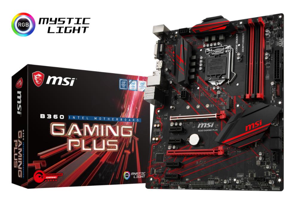 MSI MB B360 GAMING PLUS ATX LGA1151 8TH GEN DDR4 PCI-EX1/16 M.2 SATA3 USB3.1 PERFORMANCE GAMING