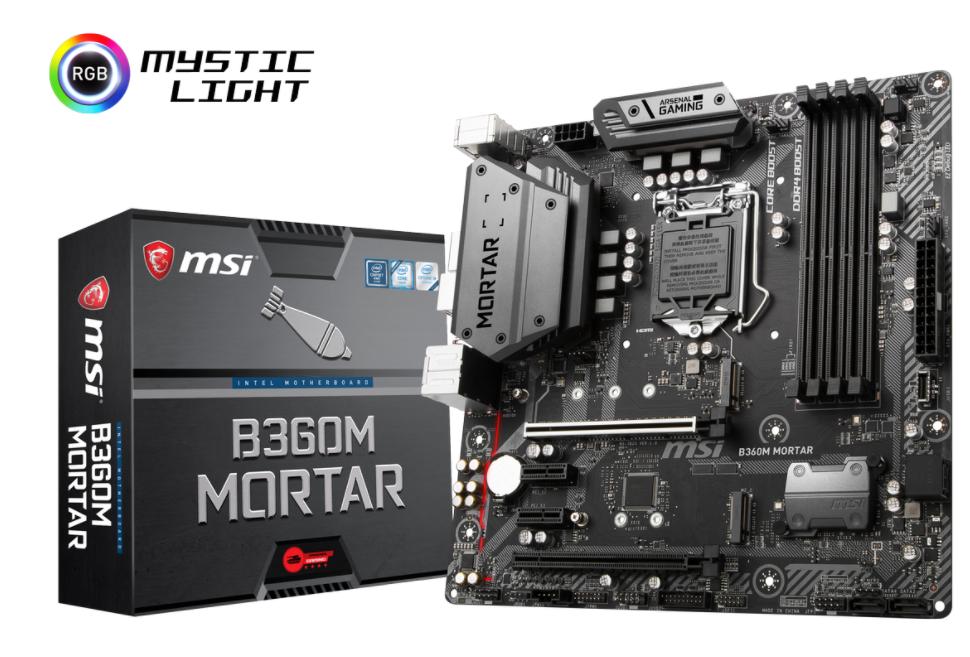 MSI MB B360M MORTAR MATX LGA1151 8TH GEN DDR4 PCI-EX1/16 M.2 SATA3 USB3.1 ARSENAL GAMING