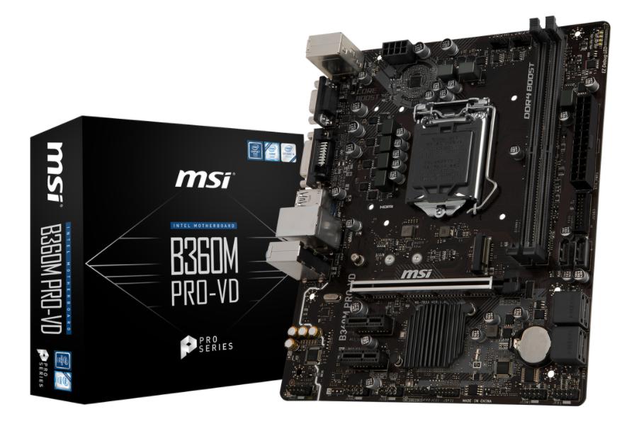 MSI MB B360M PRO-VD  MATX LGA1151 8TH GEN DDR4 PCI-EX1/16 M.2 SATA3 USB3.0 VGA DVI PRO SERIES