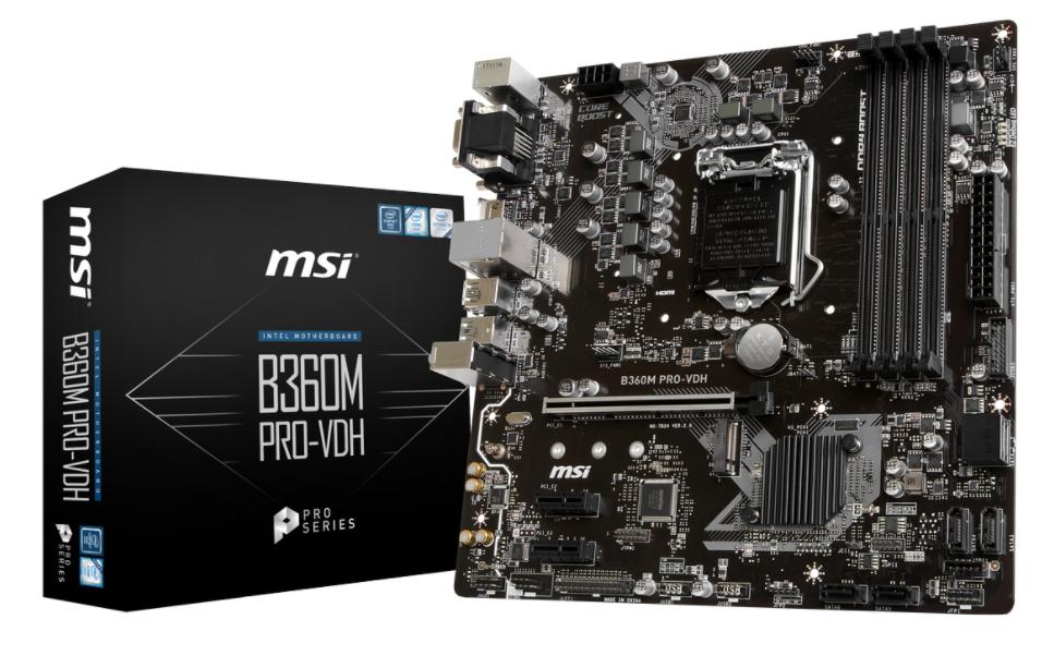 MSI MB B360M PRO-VDH  MATX LGA1151 8TH GEN DDR4 PCI-EX1/16 M.2 SATA3 USB3.0 VGA DVI HDMI PRO SERIES