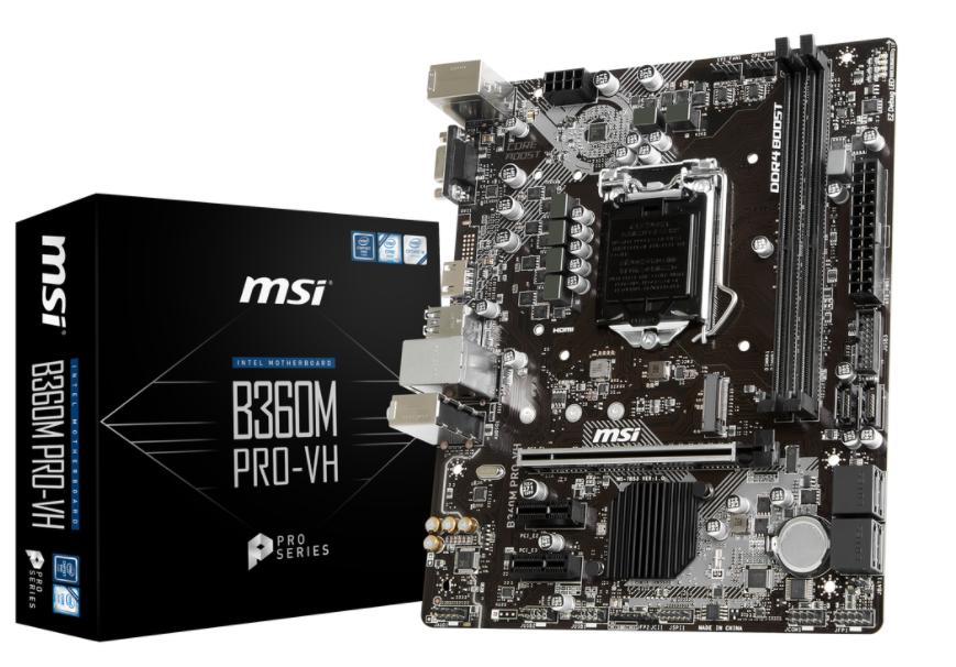 MSI MB B360M PRO-VH  MATX LGA1151 8TH GEN DDR4 PCI-EX1/16 M.2 SATA3 USB3.0 VGA HDMI PRO SERIES