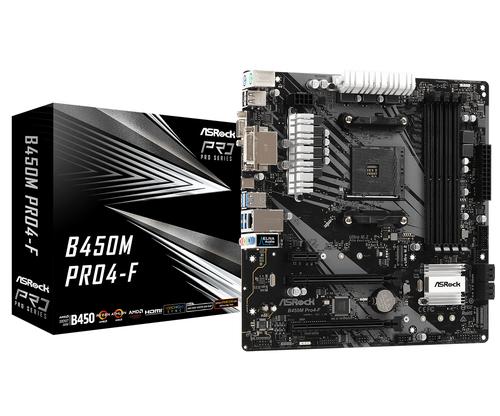 ASROCK MB AMD B450M PRO4-F 4DDR4 2PCI-E X16 M2 DVI/HDMI MATX