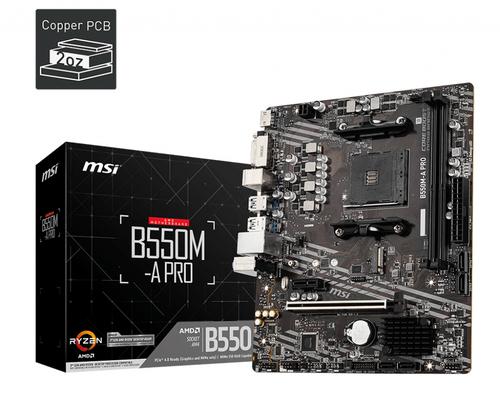 MSI MB AMD B550M-A PRO, AM4, 2DDR4, 1PCI-Ex16, 1PCI-Ex1, 1M.2, 4SATA3