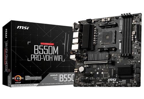 MSI MB AMD B550M PRO-VDH WIFI AM4, 4DDR4, 1PCI-Ex16, 2PCI-Ex1, 2M2, 4SATA3 MATX