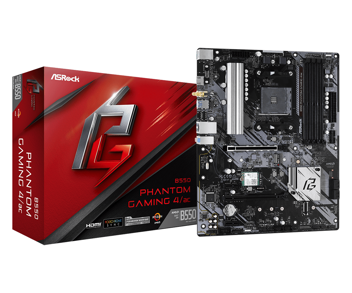 ASROCK MB AMD B550 PHANTOM GAMING 4/AC AM4, 4DDR4, 6SATA3 ATX