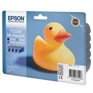 EPSON CART.MULTIPACK T0556 PER STYLUS R240 CONTIENE 4 CART. INCHIOSTRO CONF.BLISTER RS NERO T055140 - CIANO T055240 - MAGENTA T055340 - GIALLO T055440