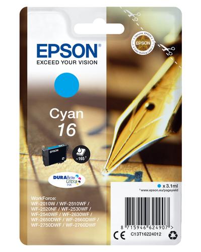 EPSON CART INK CIANO PER WF-2510WF, WF-2520NF, WF-2530WF WF-2540WF SERIE 16 PENNA E CRUCIVERBA