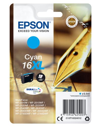 EPSON CART INK XL CIANO PER WF-2510WF, WF-2520NF, WF-2530WF WF-2540WF SERIE 16XL PENNA E CRUCIVERBA