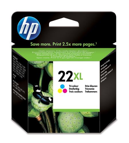 HP CART. INK COLORE PER DJ3910/15/20/30/D1311/1320/1330 22XL 450PAGINE