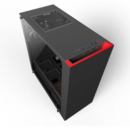 NZXT CASE S340 ELITE, ATX, 7 SLOT DI ESPANSIONE, USB2.0/3.0, 3,5/2,5, 2X120MM FAN INCLUDED (1 TOP/1 REAR), NERO/ROSSO