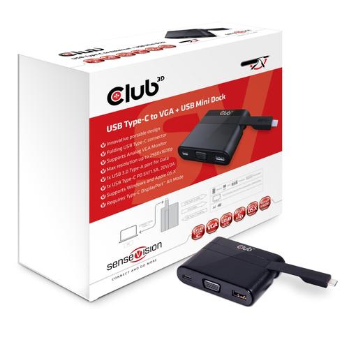 CLUB3D, DOCKING STATION MINI, MINI USB 3.0 TYPE C, USB TYPE C 3.0 TO VGA + USB TYPE A 3.0 + USB TYPE C CHARGING