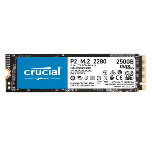 CRUCIAL SSD 250GB M2 2280 NVME PCIE 2200/1150 MBPS R/W